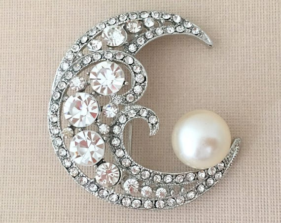 Crescent Moon Rhinestone & Pearl Brooch Pin