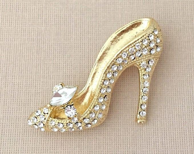 Gold High Heel Shoe Brooch Pin