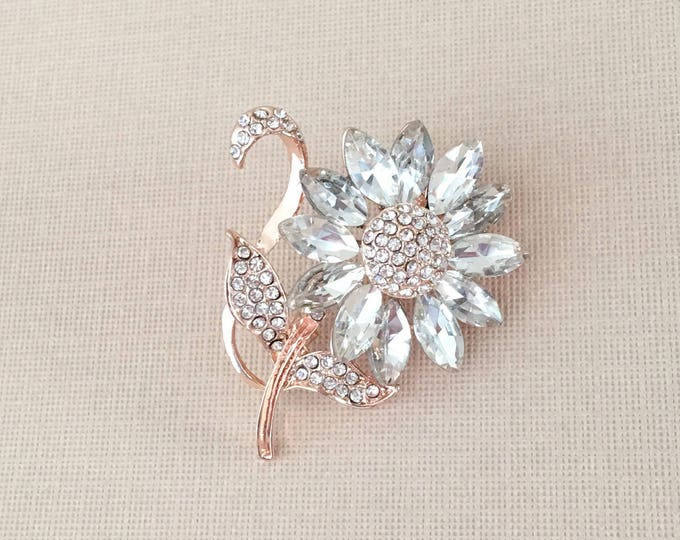 Rose Gold Rhinestone Flower Brooch Pin