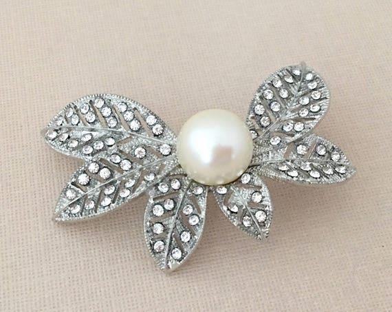 Pearl Rhinestone Leaf Brooch Pin
