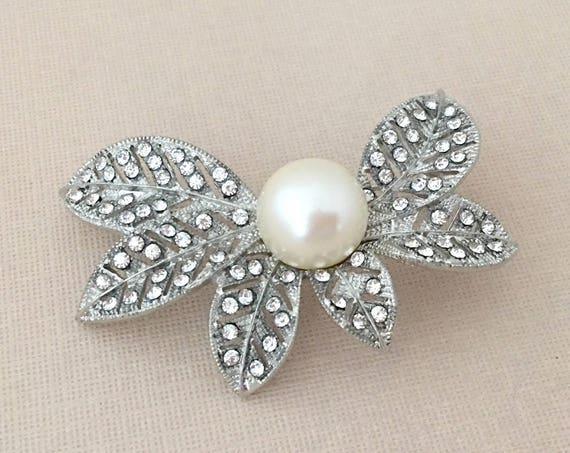 Pearl Leaf Brooch.Rhinestone Pearl Brooch.Rhinestone Leaf Brooch.Crystal Leaf Brooch.Pearl Rhinestone Brooches.Pearl Wedding Brooches.Bridal