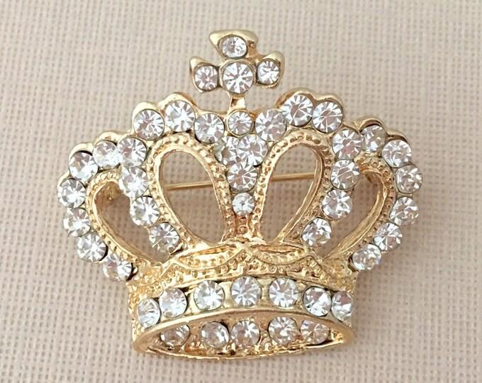 Gold Crown Rhinestone Brooch Pin