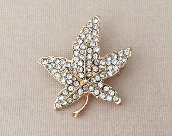 Small Gold Leaf Rhinestone Brooch Pin