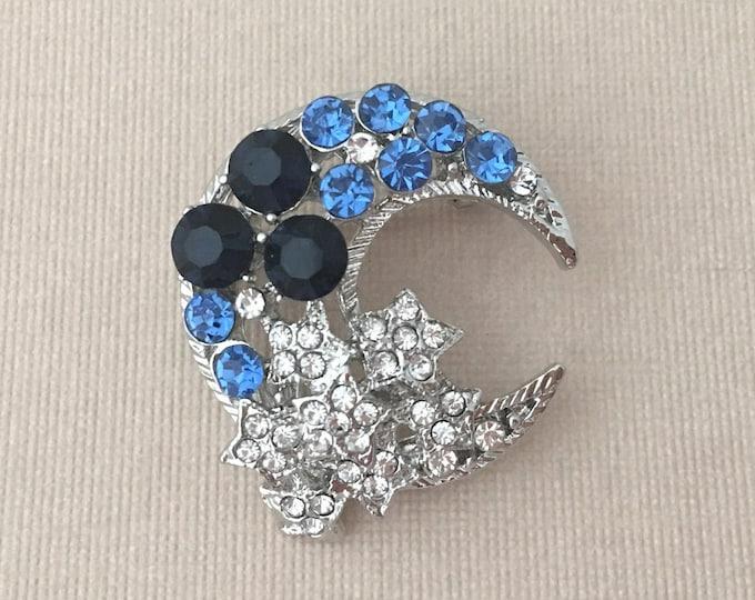 Navy Blue Moon brooch pin