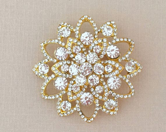 Gold Crystal Flower Pin (brooch)