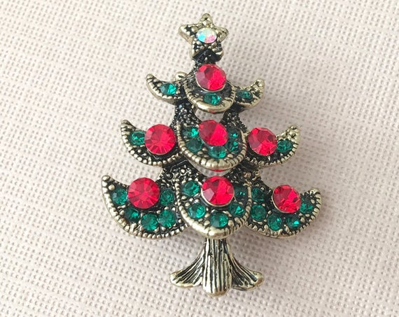 Red & Green Rhinestone Christmas Tree Brooch Pin