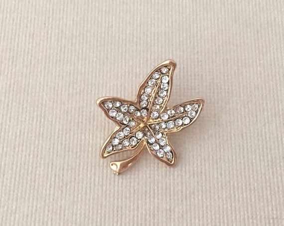 Gold Rhinestone Leaf Lapel Pin