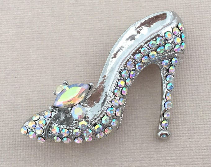 Aurora Borealis High Heel Shoe Brooch Pin