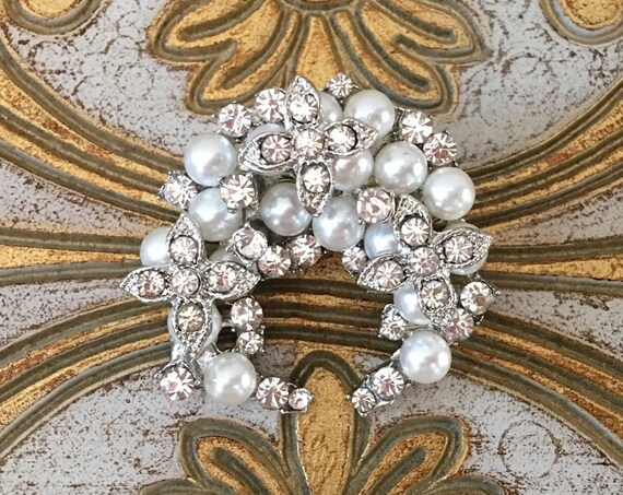 Crescent Shaped Pearl Brooch Pin