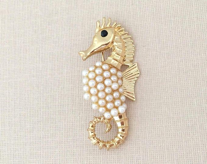 Gold Pearl Seahorse Brooch Pin