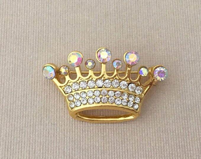 Gold & Aurora Borealis Crown Brooch Pin