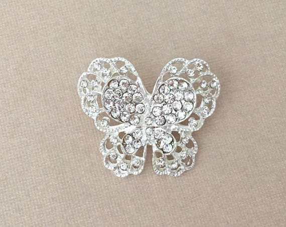 Small Silver Rhinestone Butterfly Brooch Pin