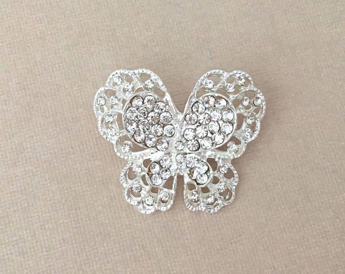 Small Silver Rhinestone Butterfly Brooch Pin