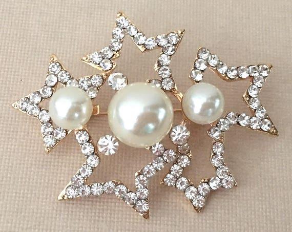 Gold Stars Pearl Brooch Pin