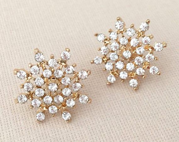 Gold & Rhinestone Snowflake Earrings