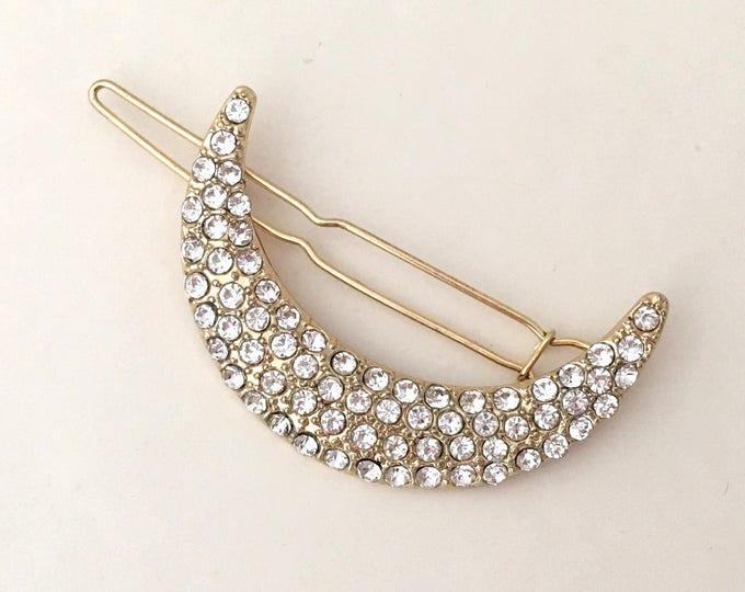 Crescent Moon Hair Clip.Gold Crescent Moon Hair Clip.Crescent Moon Barrette.Bridal headpiece.Moon hair accessory.wedding hair piece