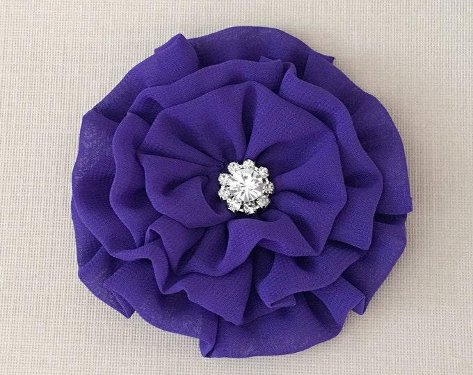 Purple Fabric Flower Brooch Pin and/or Hair Clip. Choose your button/bead finish. Handmade.