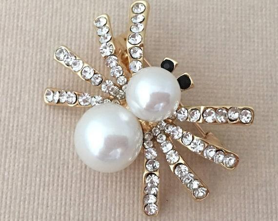 Rhinestone Spider Brooch Pin