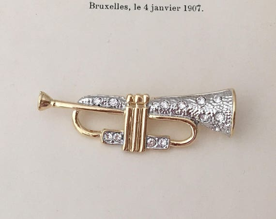 Gold Trumpet Brooch.Trumpet Brooch.Trumpet Broach.Rhinestone Trumpet Brooch.Trumpet Pin.Crystal Trumpet.Gold Silver.Symphony.Marching Band