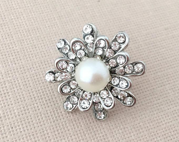 Pearl & Rhinestone Starburst Lapel Pin