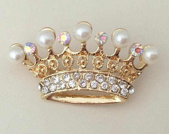 Pearl Gold Crown Brooch.Pearl Gold Tiara Brooch.Bridal Brooch.bride.crystal crown.Crown broach.Wedding accessory.Gold crown pin.yellow gold
