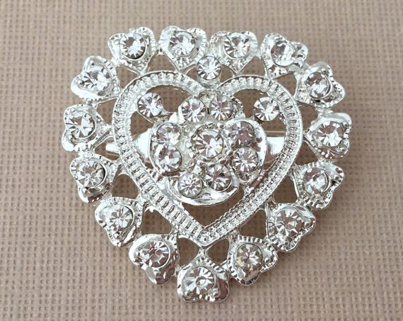 Small Silver Rhinestone Heart Brooch Pin