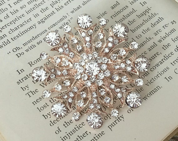 Crystal Rose Gold Brooch Pin