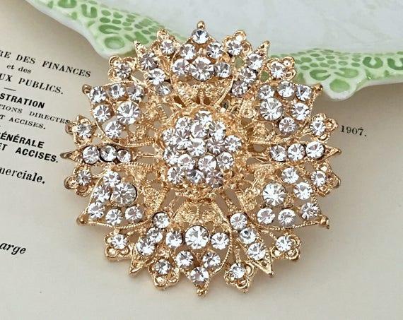 Gold Flower Rhinestone Brooch Pin