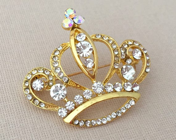 Gold Crystal Crown Brooch.Gold Crown Brooch.Gold Tiara Brooch.Bridal Brooch.bride.Crown broach.Wedding accessory.Gold crown pin.yellow gold