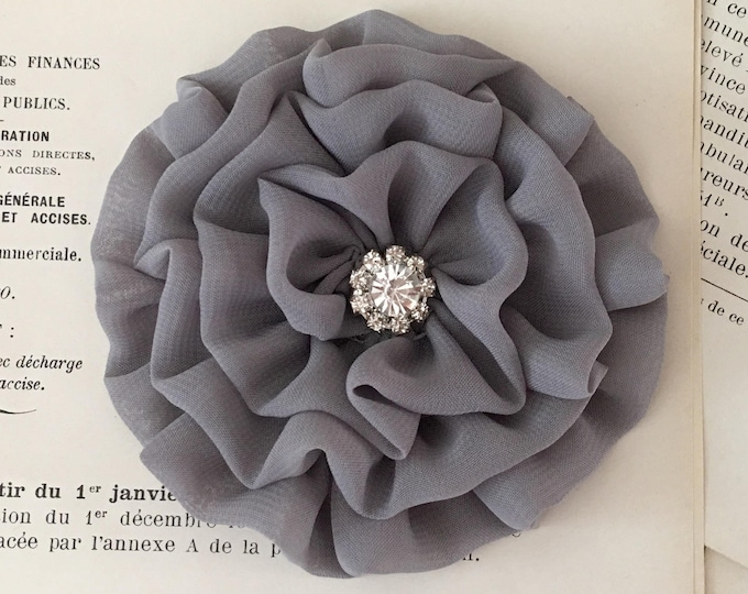 Gray Fabric Flower Brooch Pin and/or Hair Clip. Choose button/bead finish. Handmade.