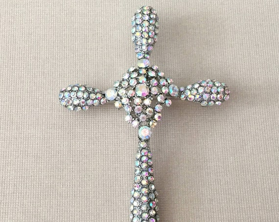 Aurora Borealis Rhinestone Cross Brooch Pin
