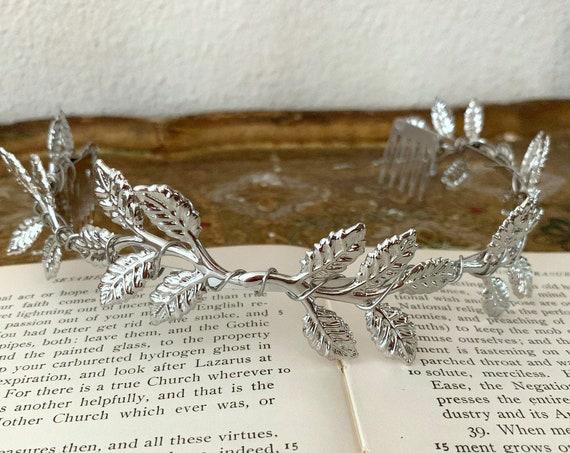 Silver Laurel Leaf Crown with Hair Combs. Tiara