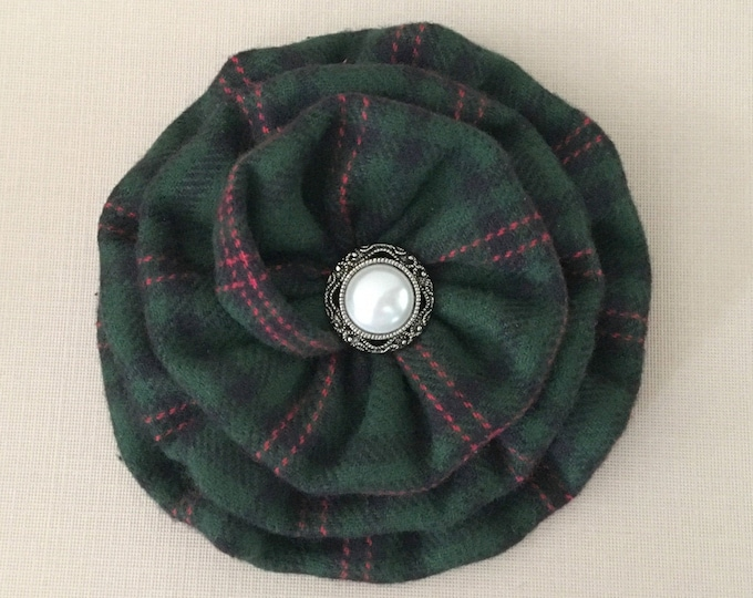 Hunter Green Plaid Flower Hair Clip and/or Brooch Pin. Choose your button finish. Handmade.