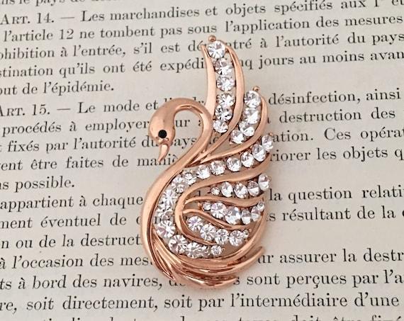 Rose Gold Swan Brooch Pin