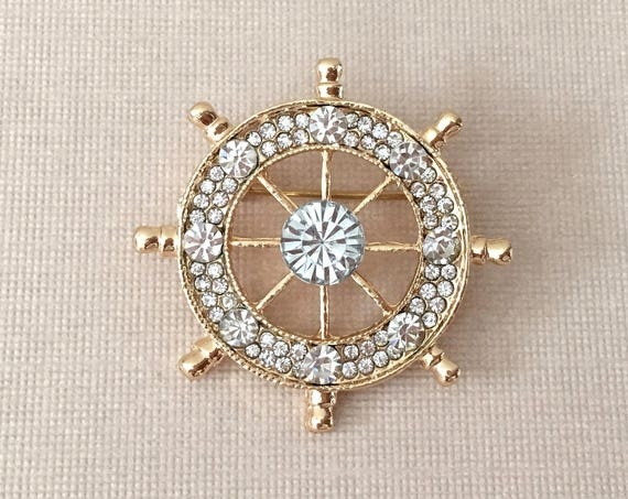 Ships Wheel Brooch.Ships Wheel Pin.Gold Ships Wheel Brooch.Nautical Brooch.Broach.Rhinestone.Groom.Pin.Crystal.groomsmen.Sailing.Unisex
