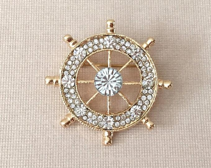 Gold Rhinestone Ships Wheel Brooch Pin