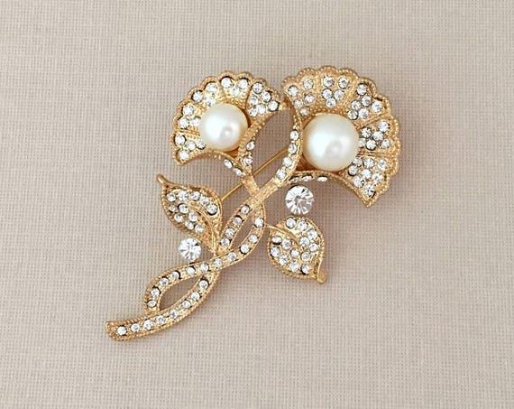 Art Deco Brooch.Rhinestone Pearl Brooch.Gold Pearl Brooch.Flower Brooch.Crystal Brooch.Art Nouveau.wedding Brooch Pin.art deco broach