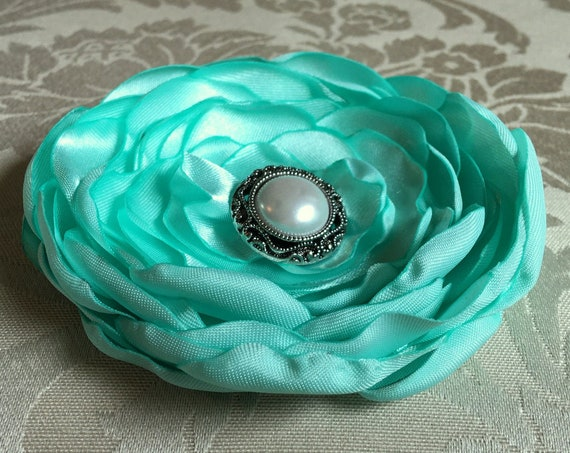 Mint Green Fabric Flower Brooch Pin or Hair Clip. Choose your size and button/bead finish. Handmade flower.