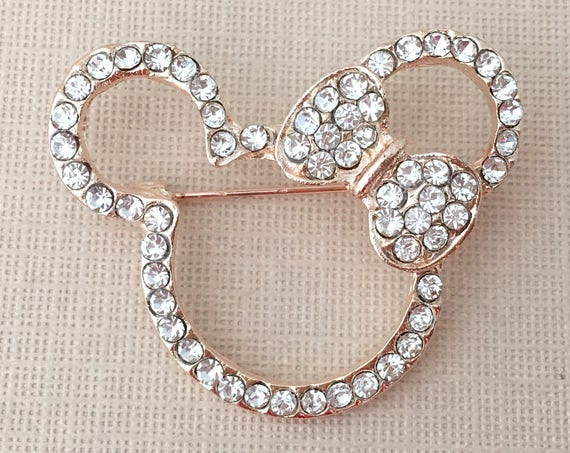 Gold Mouse Brooch.Mouse Ears Brooch.Mouse Broach.Rhinestone Brooch.Crystal Mouse Brooch Pin.Mouse Pin.Small Mouse Brooch.Gold Clear Mouse