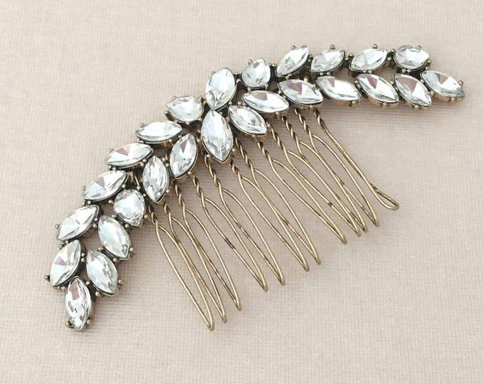 Large Rhinestone Leaf Hair Comb.Large Crystal Leaf Hair Comb.Bridal headpiece.gold Leaf hair piece.wedding.Bronze.Antique Gold Hair comb