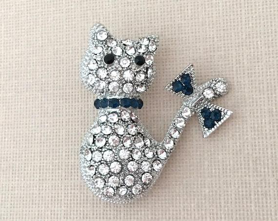 Blue Cat Brooch Pin