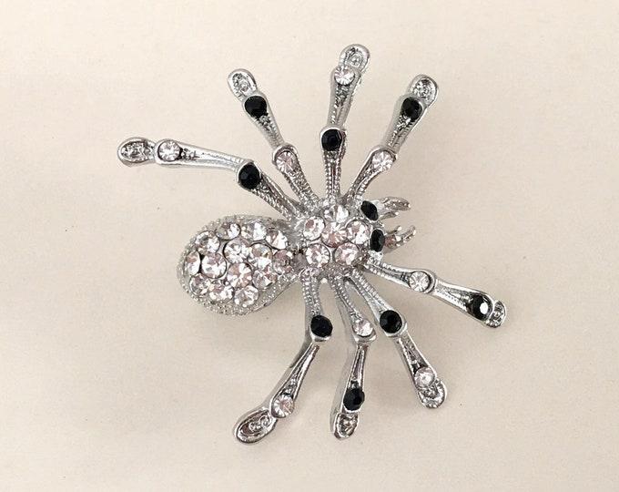 Black Spider Brooch Pin
