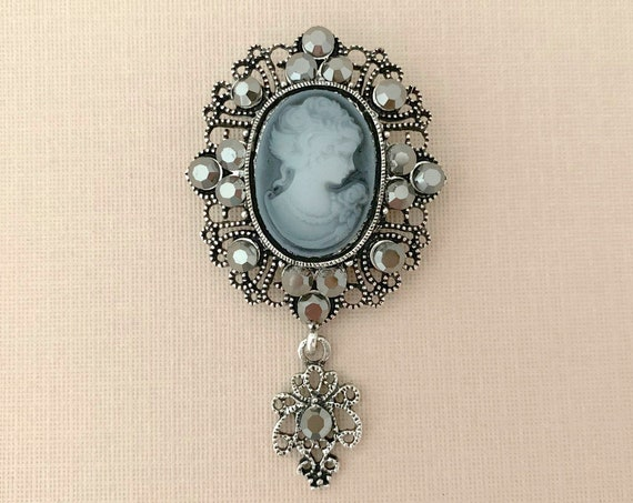 Gray Rhinestone Cameo Brooch Pin
