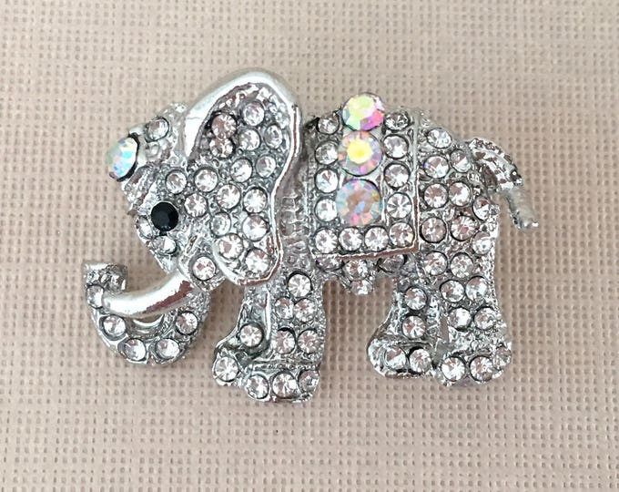 Rhinestone Elephant Brooch Pin