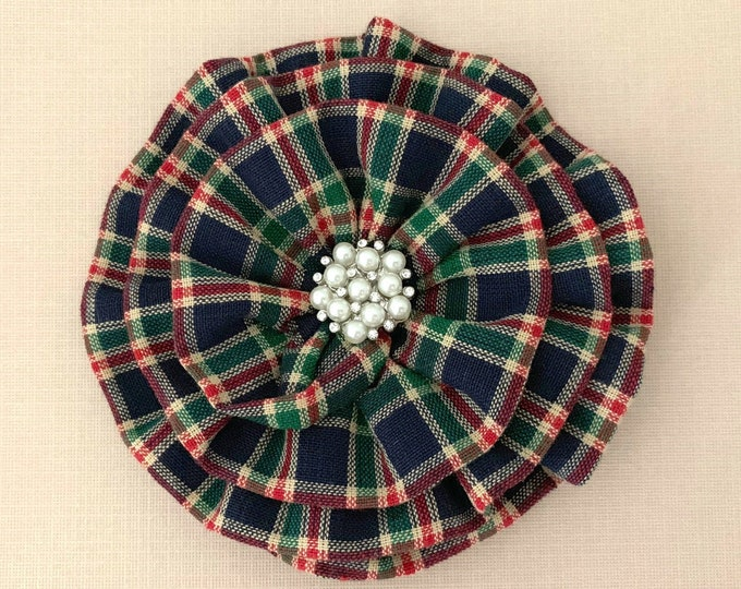Navy Red Plaid Flower Brooch Pin. Choose Button/Bead Finish. Handmade.