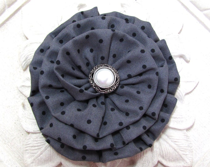 Gray Black Flower Hair Clip and/or Brooch Pin. Choose button/bead finish. Handmade.