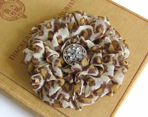 Leopard Print Fabric Flower Brooch Pin and/or Hair Clip. Choose button/bead finish. Handmade.