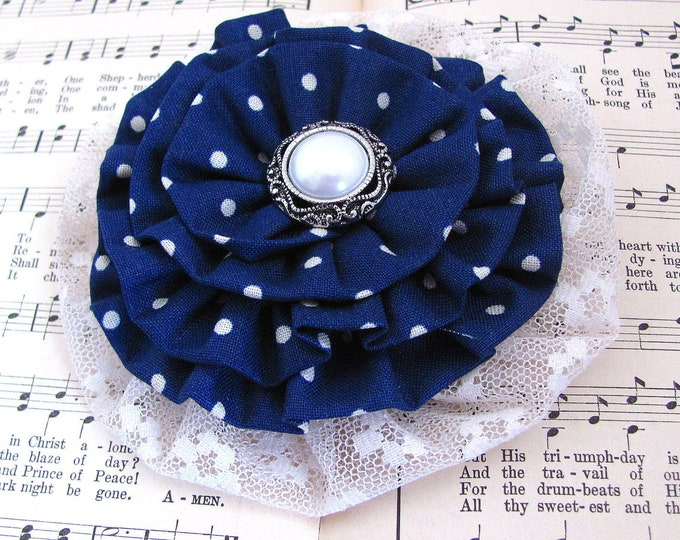 Navy Polka Dot Fabric Flower Brooch Pin and/or Hair Clip. Choose button/bead finish. Handmade.
