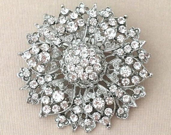 Flower Rhinestone Brooch Pin