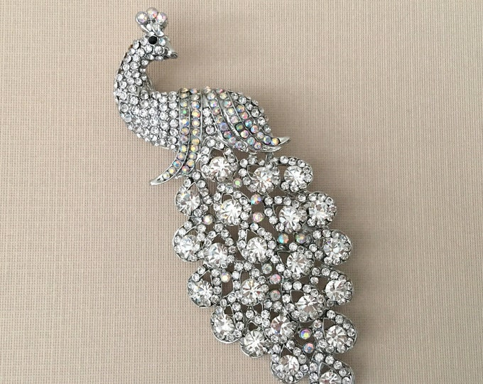 Large Peacock Rhinestone Brooch Pin and Pendant